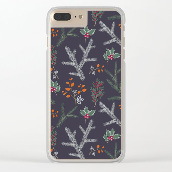 Seamless pattern with floral branches winter christmas hand drawn texture background Clear iPhone Case