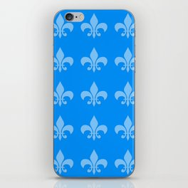 Fleur de lis blue mono chroma iPhone Skin