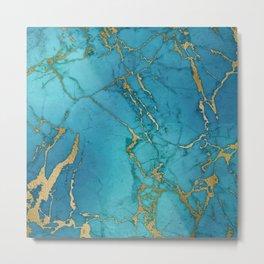Turquoise Gold Metallic Marble Stone Metal Print