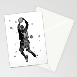 Basketball Player Watercolor Painting Stationery Cards