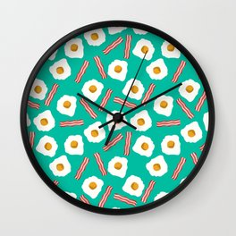 eggs and bacon breakfast food fight apparel and gifts teal Wall Clock