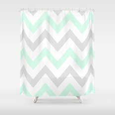 WASHED OUT CHEVRON (MINT & GRAY) Shower Curtain