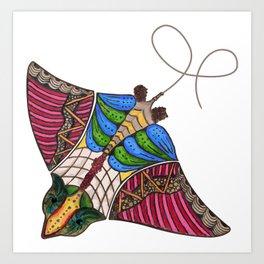 Colorful Stingray Art Print