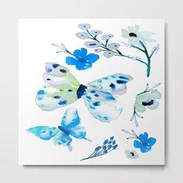 Blues Butterflies Flowers Neutral Retreat Metal Print
