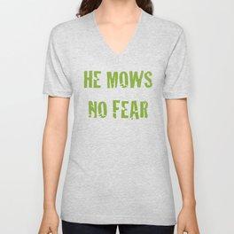 He Mows No Fear Unisex V-Neck