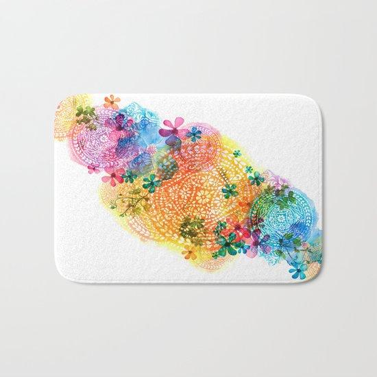 rainbow mandala cloud Bath Mat