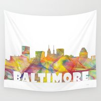 maryland Wall Tapestries featuring Baltimore, Maryland Skyline MCLR 2 by Marlene Watson