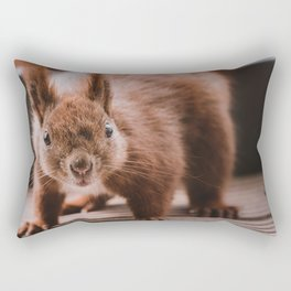 Curious Red Squirrel Looking into Camera Rectangular Pillow
