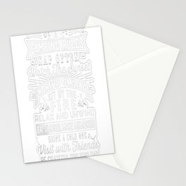 Camping Rules Tee Stationery Cards