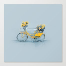 Yellow vintage bike with sunflowers Canvas Print