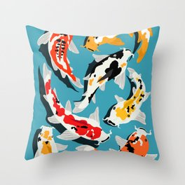 Colorful Koi Carps Swimming Around Throw Pillow