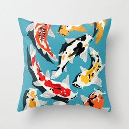 Colorful Koi Carps Swimming Around Throw Pillow