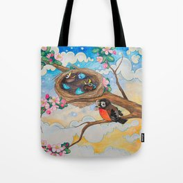 Spring: Mother Robin Tote Bag