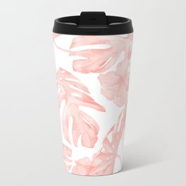 Tropical Palm Leaves Hibiscus Flowers Coral Pink Metal Travel Mug