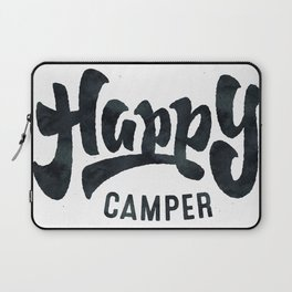 HAPPY CAMPER Black and White Retro Laptop Sleeve