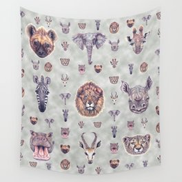 African Mammals Poster and Pattern Wall Tapestry