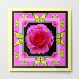 Pink Rose Yellow Monarch Butterflies Deco art Metal Print
