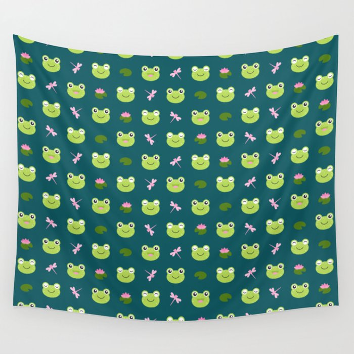 Frogs, Dragonflies and Lilypads on Teal Wall Tapestry