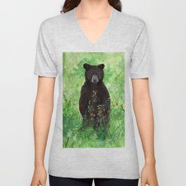 Cinnamon Black Bear Cub Unisex V-Neck