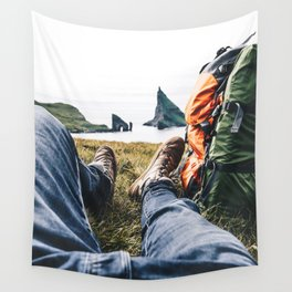 backpacker resting at faroe Wall Tapestry