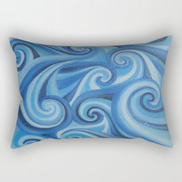 Parting Waves abstract ocean sea swirls painting Rectangular Pillow