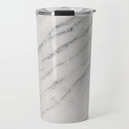 Marble Silver Glitter Glam #1 #shiny #gem #decor #art #society6 Travel Mug