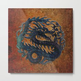 Blue Chinese Dragon on Stone Background Metal Print