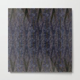 Marbled Navy Blue with Abstract Dark Copper Design Metal Print