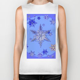 """BLUE SNOW ON SNOW"" BLUE WINTER ART Biker Tank"