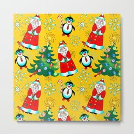 Santa and Penguin in Sunny Yellow Metal Print