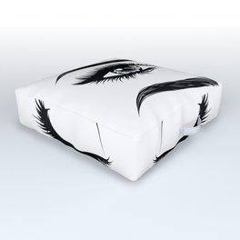Eyes with long eyelashes and brows Outdoor Floor Cushion