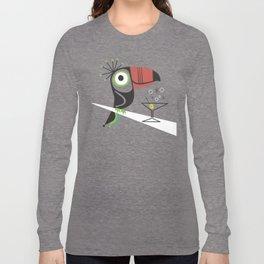 Swank Mid Century Modern Toucan Tiki Bird With Martini Long Sleeve T-shirt