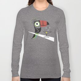 Swank Mid Century Modern Toucan Tiki Bird With Martini Long Sleeve T-shirt