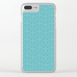 Beach Series Aqua - White Anchors on turquoise background on #Society6 Clear iPhone Case