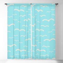 Beach Series Aqua - Sea Gulls Birds in the blue Sky Blackout Curtain