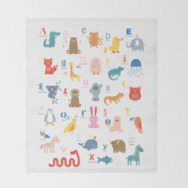 Colorful Alphabet Friends Throw Blanket