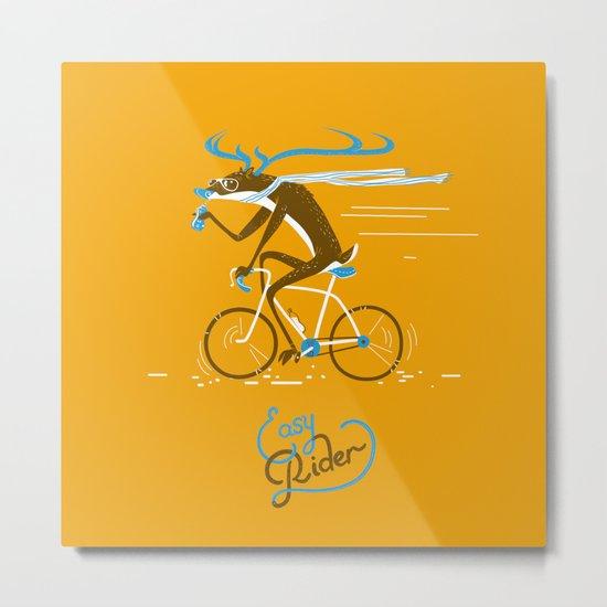 Easy Rider // (cycling hipster deer) Metal Print