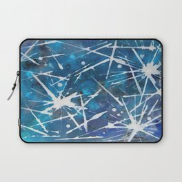 Splash white and blue---abstract art ----by Saribelle Rodriguez Laptop Sleeve
