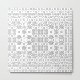 Simple Elegant Black and White Fractal Square Mandala Metal Print