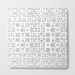 Simple Elegant Black and White Fractal Square Mandala Metal Print