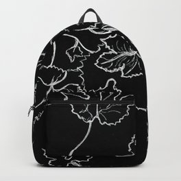 White ink, graphic, black cardboard, nature drawing maple leaves Backpack