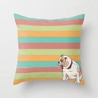 english bulldog Throw Pillows featuring Bulldog by Tammy Kushnir