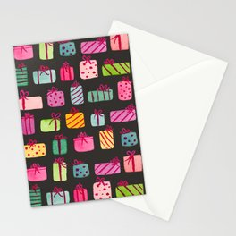 Colorful Wrapped Packages on Black Stationery Cards