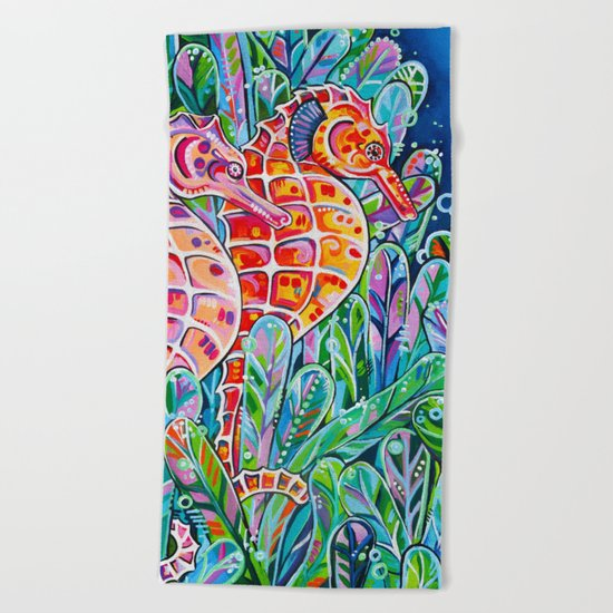 Seahorses Beach Towel