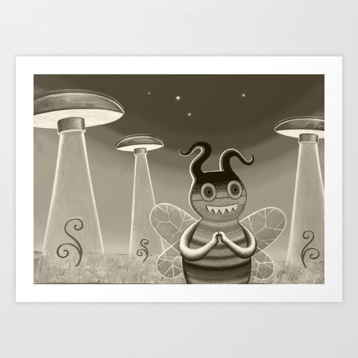 bee movie noir Art Print