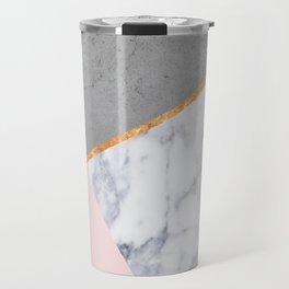Marble Blush Gold gray Geometric Travel Mug