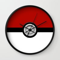 pokeball Wall Clocks featuring POKEBALL by Graphic Craft