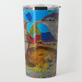 Two Birds In Colorful Nest With Quotes About Wrens Travel Mug