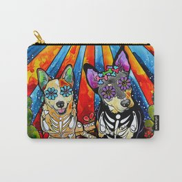 Australian Cattle Dog Sugar Skull Painting Carry-All Pouch