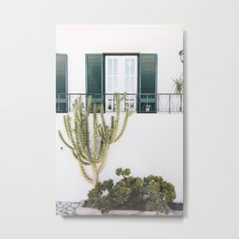 White Portuguese House with Cactus in Cascais, Portugal | Travel Photography | Metal Print